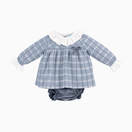 Baby Girl Dress Squares Blue