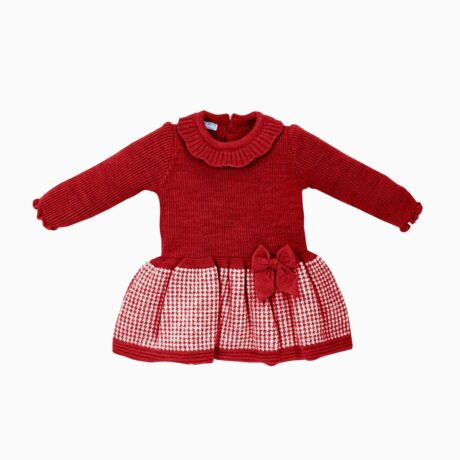 Baby Girl Dress Knitted Fabric Squares Red