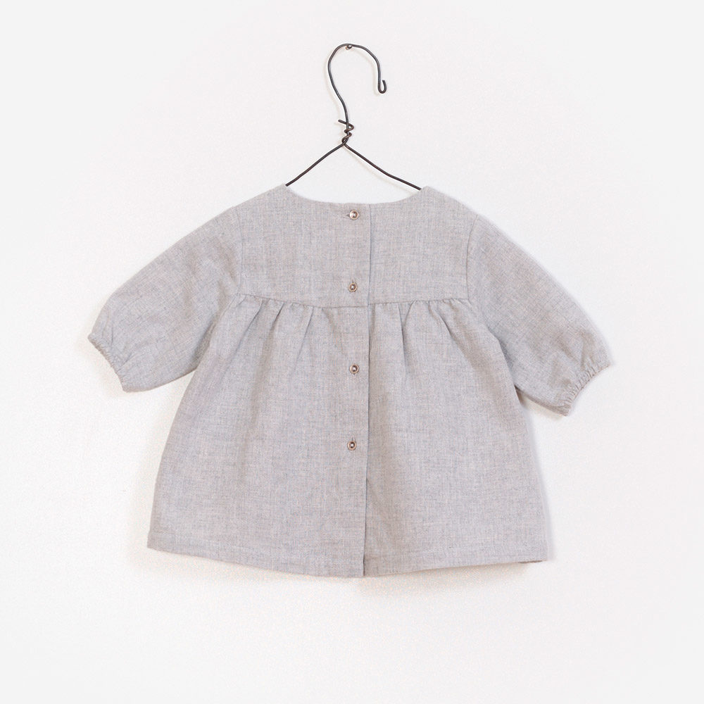 Baby Girl Blouse Grey Embroidery