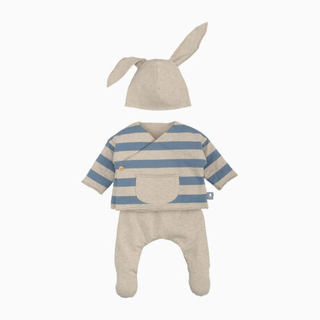 Blue Cotton Striped Bunny Set