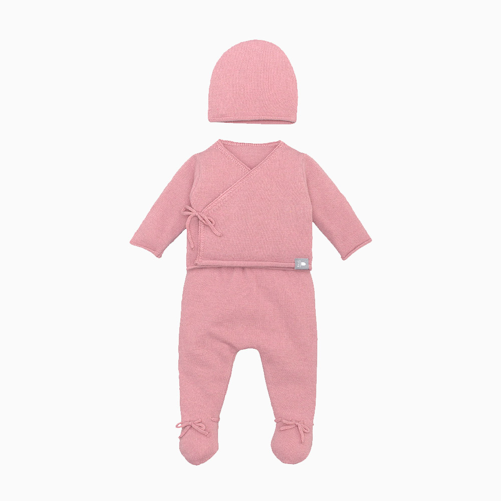 3 Pieces Pink Knitted Set