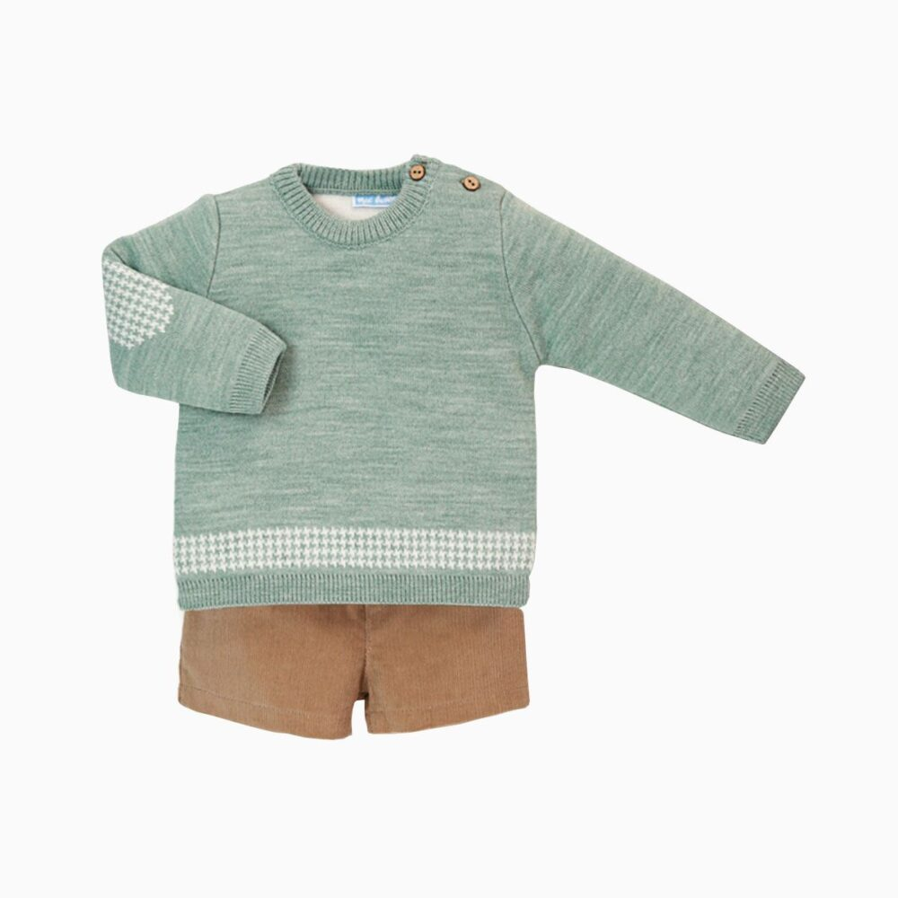 Baby Boy Sweater Hoja Pants Set