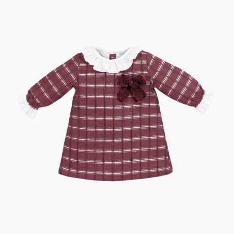 Baby Girl Dress Squares Maroon