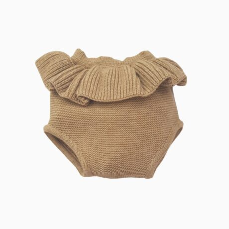 Mustard Flounced Baby Girl Knitwear Mini Pantie