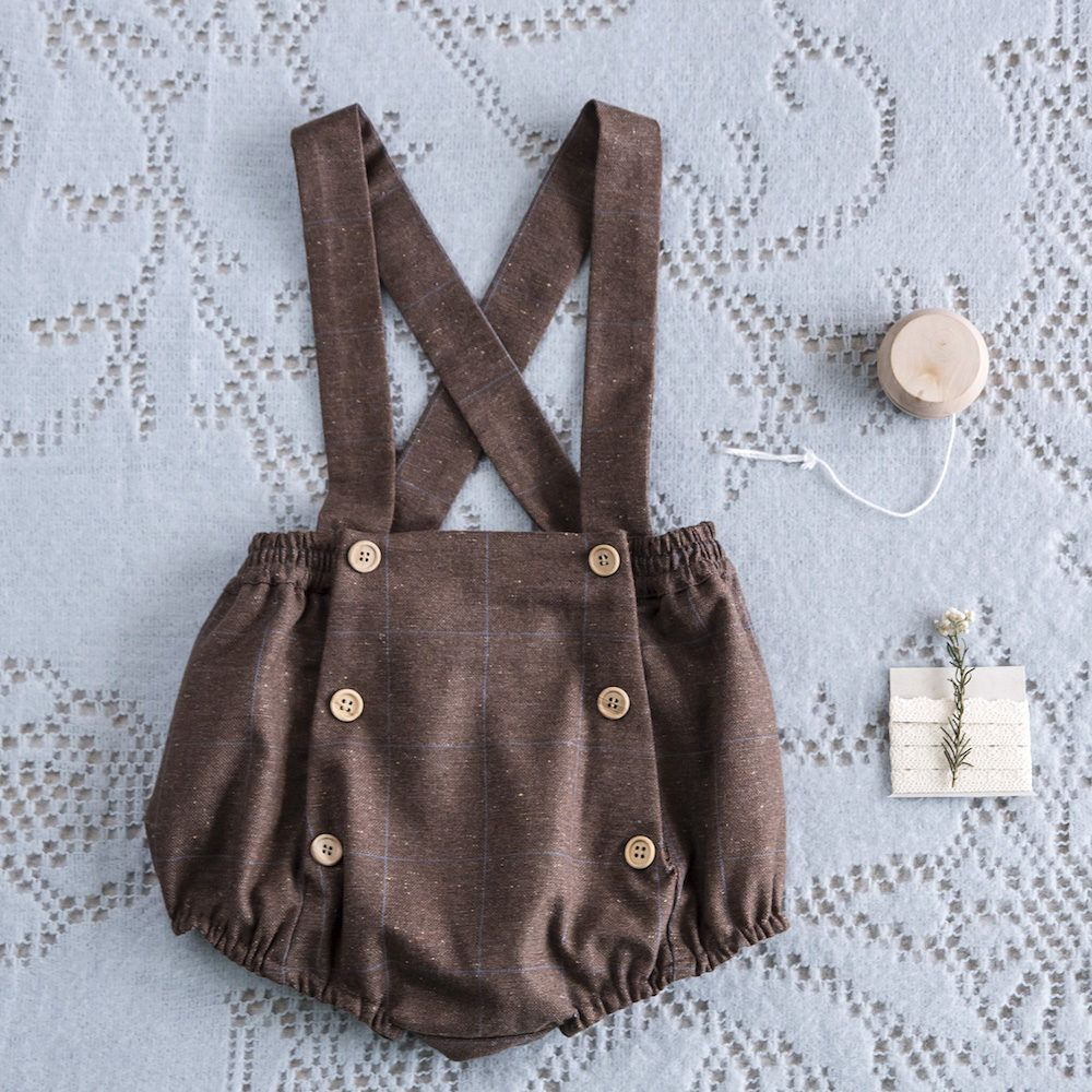 Baby Dungaree Buttons Oak Fabric
