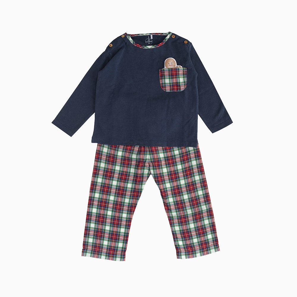 Baby Pajama Two Pieces Without Neck Navy Blue