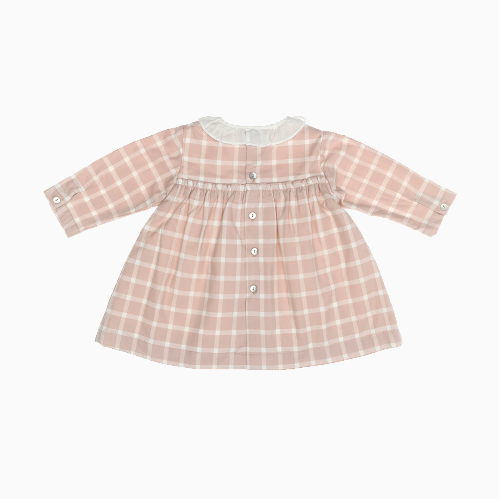 Baby Girl Dress Vichy Powdery Pink