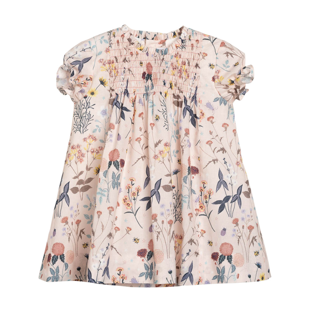 Floral girl dress with gather